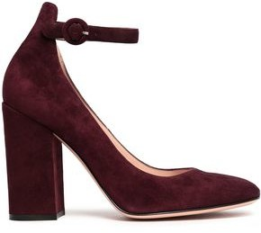 Gianvito Rossi Greta Suede Mary Jane Pumps