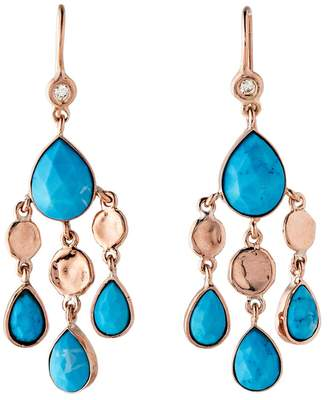 Jacquie Aiche Turquoise Teardrops and Hammered Disc Earrings - Rose Gold