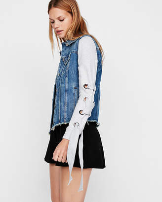 Express Knit Lace-Up Sleeve Denim Trucker Jacket