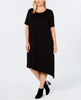 Eileen Fisher Plus Size Stretch Jersey Asymmetrical Knit Dress