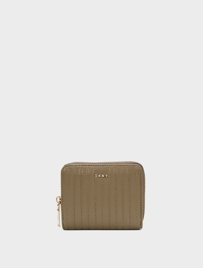 DKNY Small Quilted Lamb Nappa Pinstripe Carryall Wallet