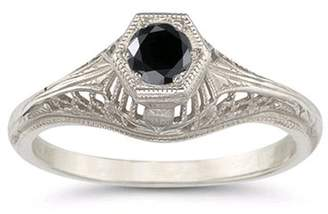 Black Diamond Apples of Gold Vintage Art Deco Ring in .925 Sterling Silver