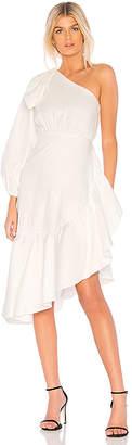 Cynthia Rowley Aleeza One Shoulder Tie Sleeve Dress