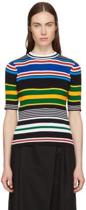 Enfold Multicolor Multi Stripe Crewneck Sweater