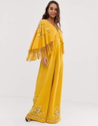 Asos Design DESIGN kimono sleeve fringe embroidered jumpsuit