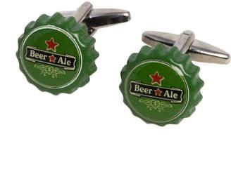 Bey-Berk Bey Berk Beer Cap Rhodium Plated Cufflinks