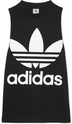 adidas Trefoil Printed Stretch Cotton-jersey Tank - Black