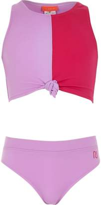 River Island Girls purple block print knot front tankini