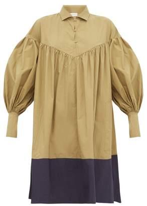 Lee Mathews - Elsie Balloon Sleeve Cotton Dress - Womens - Green