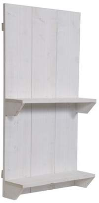 Gallery Solutions Rustic Distressed White Wood Pallet Wall Shelf