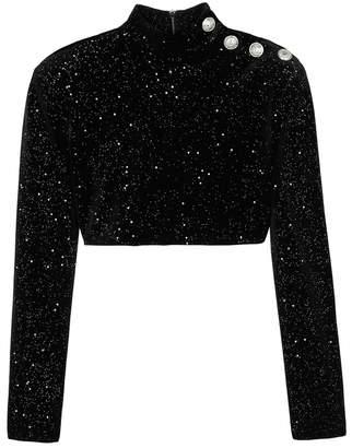 Balmain Black Glittered Cropped Velvet Top