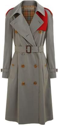 Burberry Knit Detail Tropical Gabardine Trench Coat