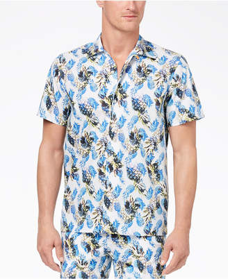 Con. Struct Men's Yellow Pineapple-Print Shirt, Created for Macy's