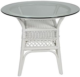 One Kings Lane Plantation Glass-Top Side Table - White