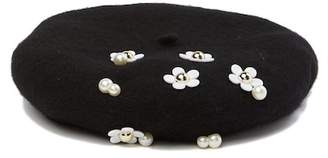 David & Young Embroidered Floral Wool Beret