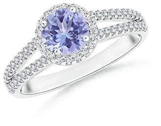 Angara.com December Birthstone - Twin Shank Tanzanite Halo Ring with Diamond Accents in 14K White Gold (6mm Tanzanite)