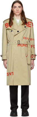 Burberry Beige Script Trench Coat
