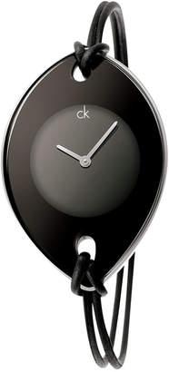 Calvin Klein Watch, Women's Swiss Suspension Black Leather Strap 46x31mm K3323330