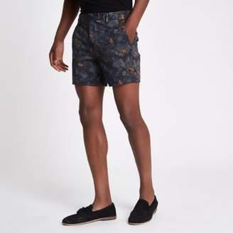 River Island Blue paisley print slim fit chino shorts