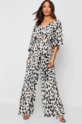 boohoo Leopard Kimono Sleeve Jumpsuit