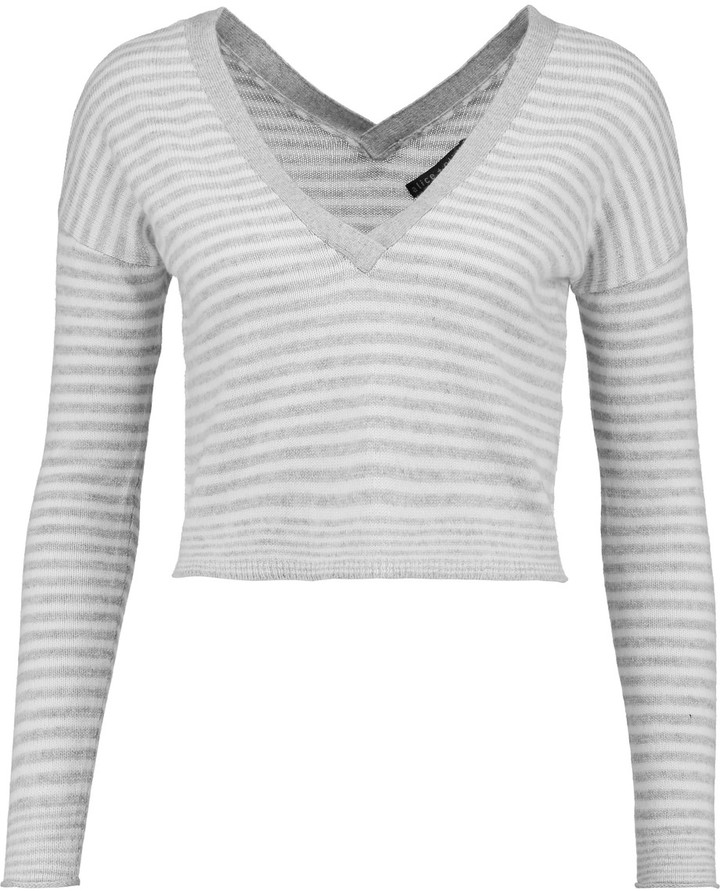 Alice + Olivia Alice + Olivia Callan cropped striped wool-blend top