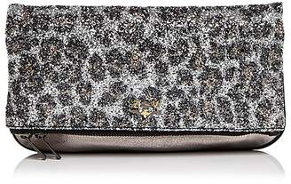 Zadig & Voltaire Leopard Print Glitter Leather Clutch
