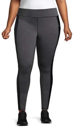 Xersion Herringbone Faux Leather Side Stripe Street Leggings - Plus