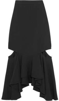 Givenchy Cutout Ruffled Wool Midi Skirt