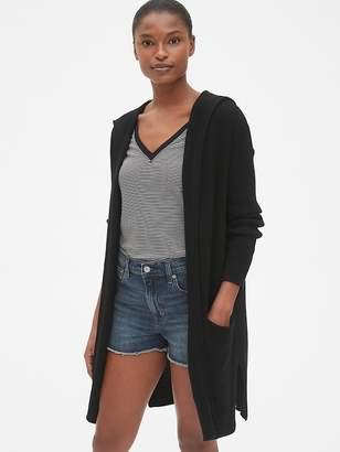 Gap Longline Hooded Open-Front Cardigan Sweater