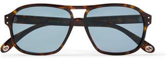 Gucci Aviator-Style Tortoiseshell Acetate Sunglases - Men - Brown