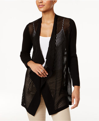 Jm Collection Draped Shadow-Stripe Cardigan, Only at Macy's $69.50 thestylecure.com