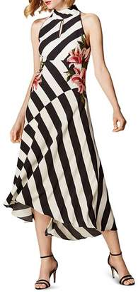 Karen Millen Sleeveless Floral-Embroidered Striped Midi Dress