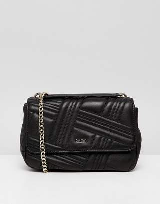 DKNY allen leather quilted shoulder bag in black