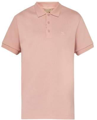 Burberry Logo Embroidered Cotton Plique Polo Shirt - Mens - Light Pink