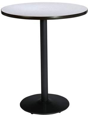 "KFI seating KFI 30"" Round Pedestal Table with Grey Nebula Top, Round Black Base. Bistro Height"