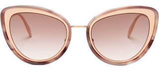 Alexander McQueen Cat Eye Metal Sunglasses - Womens - Light Brown