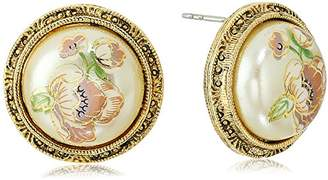 1928 Jewelry Womens Gold Tone Flower Decal Pearl Round Button Stud Earrings