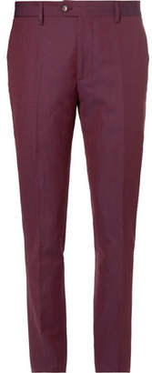 Etro Burgundy Slim-Fit Linen And Wool-Blend Trousers