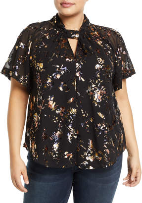 Rachel Roy Plus Metallic Floral Chiffon Kimono Top, Plus Size