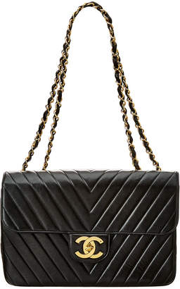 Chanel Black Lambskin Leather Chevron Maxi Single Flap Bag