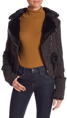 Molly Bracken Faux Fur Detailed Moto Jacket