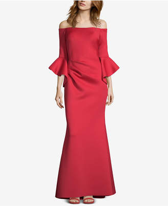 Betsy & Adam Off-The-Shoulder Scuba Gown