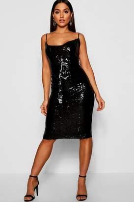 boohoo Sequin Cowl Neck Belted Midi Slip Dress