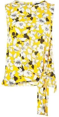 Dorothy Perkins Womens Ochre Floral Print Tie Side Top