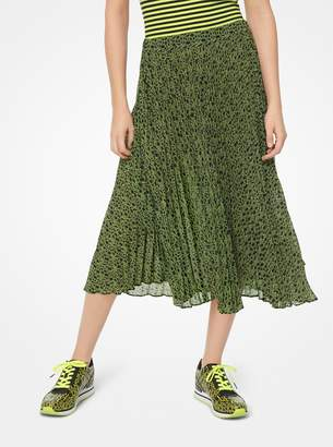 MICHAEL Michael Kors Graphic Logo Print Georgette Pleated Skirt