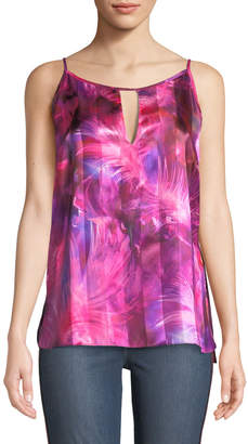 T Tahari Faline Printed-Satin Tiered Blouse