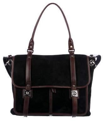 Lanvin Suede Leather-Trim Messenger Bag