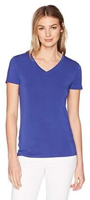 Lark & Ro Women's Short Sleeve Soft V-Neck T-Shirt