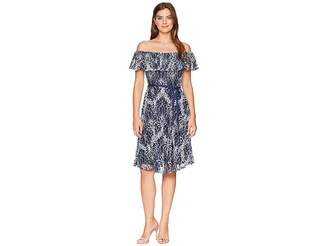 Taylor Off the Shoulder Ruffle Lace Belted Dress Women's Dress