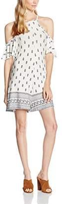 boohoo Women's Eden Cold Shoulder Border Print Swing Dress,8